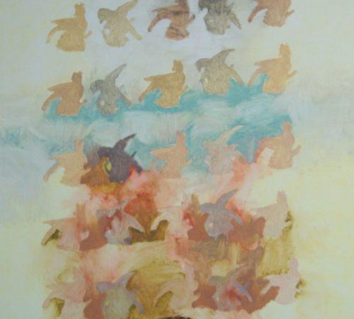 "Dog Walk in Spring 53"" x 30"" oil on canvas"