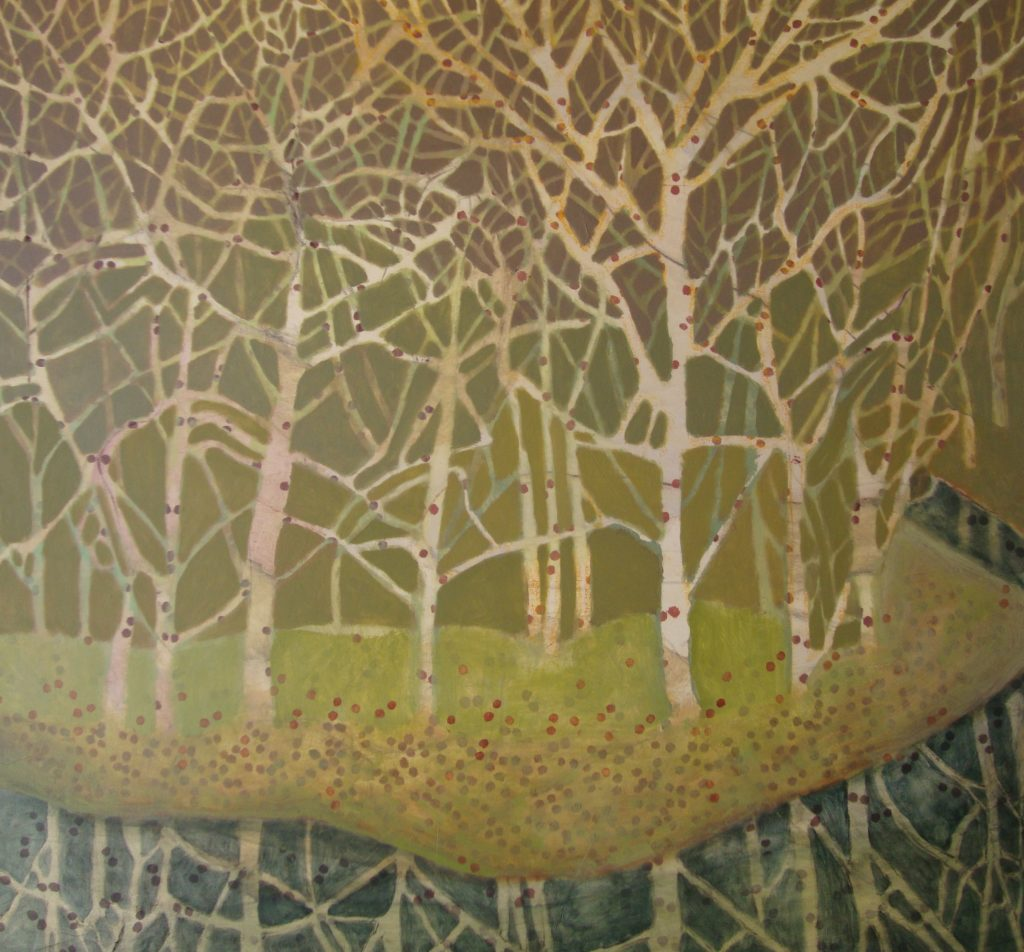 """Sycamores 31"""" x 33"""" oil on canv"""